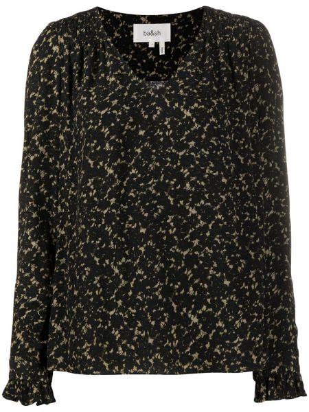 С рукавами черная блузка с длинным рукавом с V-образным вырезом из вискозы Ba&sh