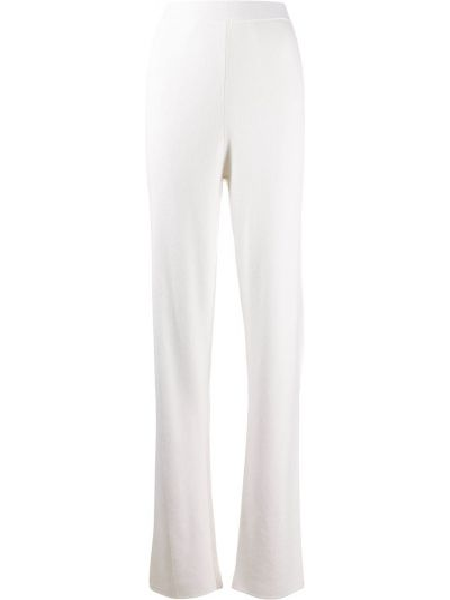 Кашемировые белые вязаные брюки с высокой посадкой Malo