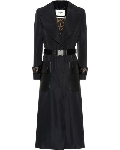 Кожаное пальто оверсайз пальто-тренч Fendi