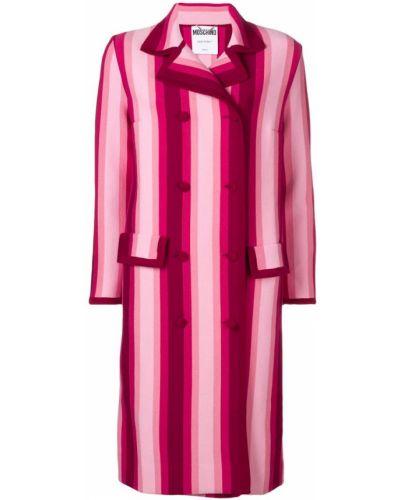 Прямое розовое пальто с капюшоном Moschino