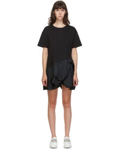 Черное асимметричное с заниженной талией платье мини с воротником Red Valentino