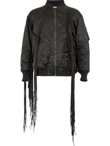 Czarna długa kurtka z frędzlami z nylonu Facetasm