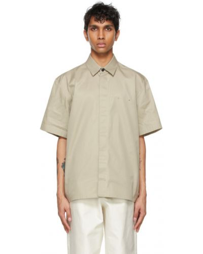Черная рубашка с короткими рукавами с воротником Jil Sander