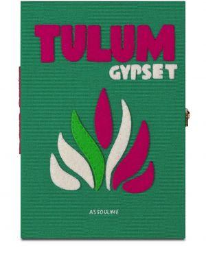 Zielona kopertówka z jedwabiu z printem Assouline