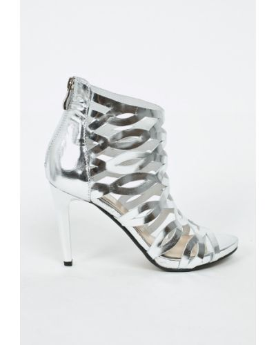 Туфли на высоком каблуке серебряного цвета Carinii