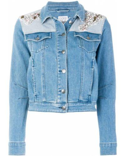 Джинсовая куртка длинная с камнями Twin-set