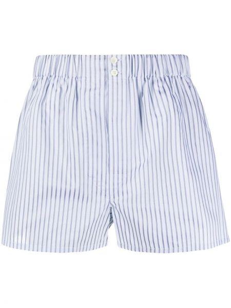 Хлопковые синие носки в полоску Brioni