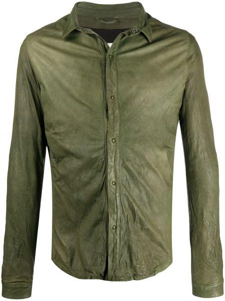 Zielona klasyczna koszula z długimi rękawami skórzana Giorgio Brato