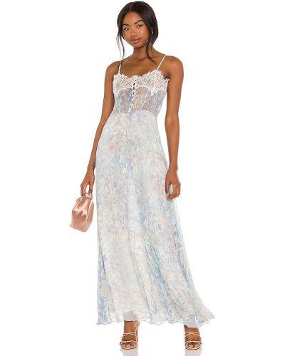 Шелковое синее платье с подкладкой Loveshackfancy