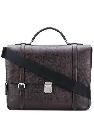 Коричневый кожаный портфель на молнии Church's