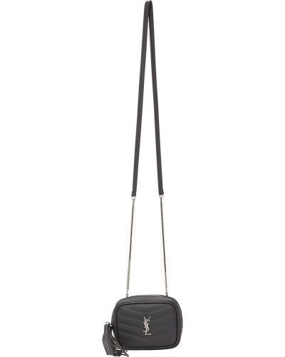 Czarny łańcuszek pikowany skórzany Saint Laurent