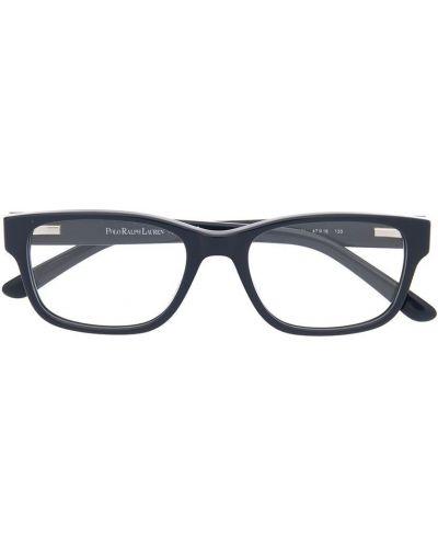 Синие очки прямоугольные в клетку Polo Ralph Lauren