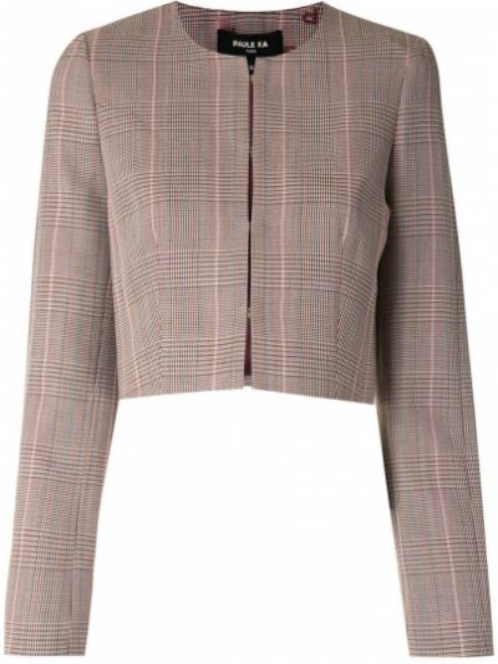 Шерстяной коричневый удлиненный пиджак в клетку Paule Ka