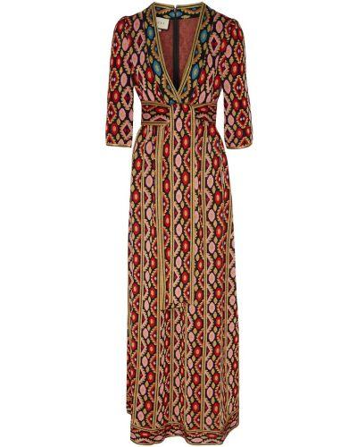 Платье макси с запахом восточное Gucci