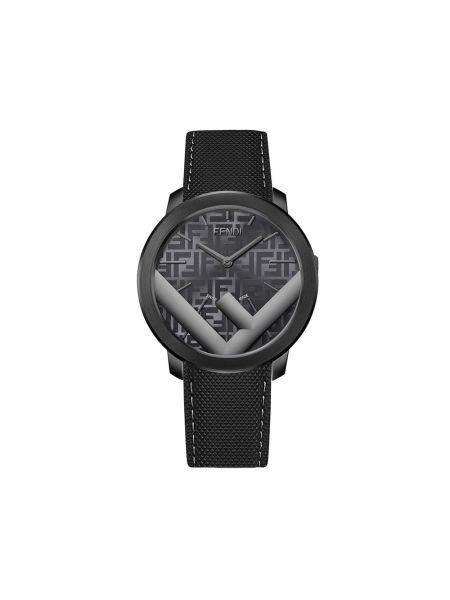Czarny złoty zegarek elegancki Fendi