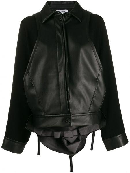 Черный кожаный классический пиджак с воротником Chalayan