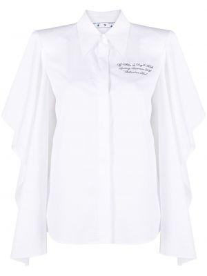 Biały bawełna z rękawami koszula z kołnierzem Off-white