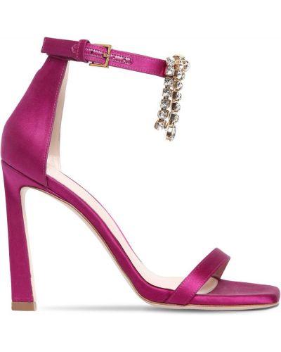 Кожаные розовые босоножки на каблуке Stuart Weitzman
