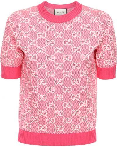 Bawełna bawełna różowy top Gucci