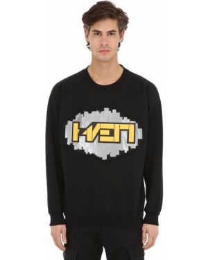Prążkowana czarna bluza bawełniana Haervaerk