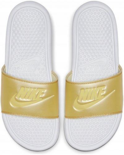 Żółty złoty klapki na basen Nike