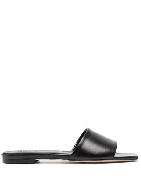 Czarne sandały skorzane peep toe Aeyde