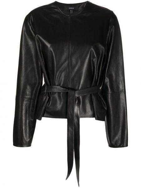 Черная куртка на молнии круглая с поясом Arma