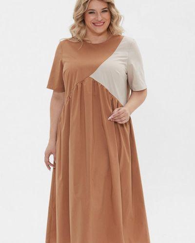Повседневное коричневое платье Luxury Plus