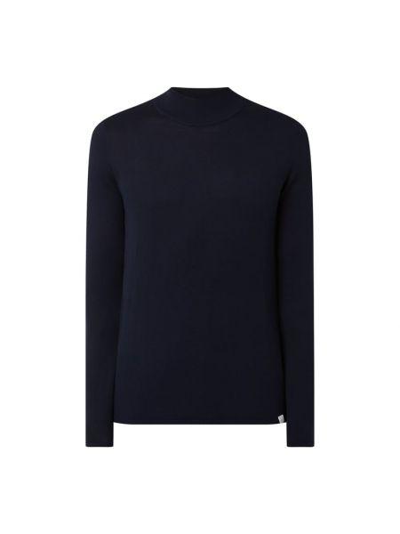 Prążkowany niebieski sweter wełniany Nowadays