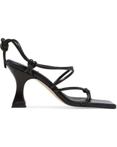 Czarne sandały skórzane Miista