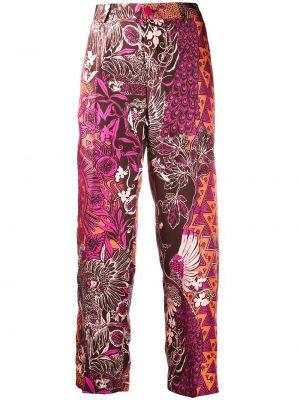 Прямые шелковые розовые брюки на молнии F.r.s. For Restless Sleepers
