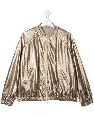Желтая кожаная куртка на молнии Brunello Cucinelli Kids