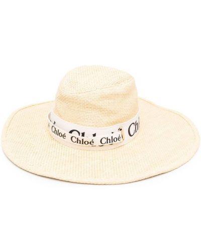 Beżowy kapelusz skórzany z printem Chloe