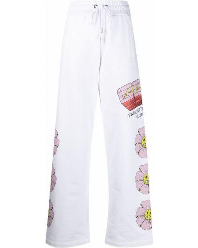 Białe spodnie bawełniane z printem Gcds