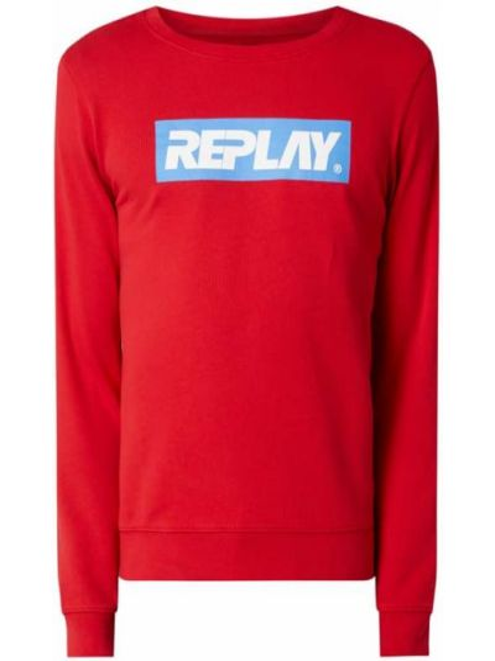 Bawełna bawełna bluzka z dekoltem okrągły Replay