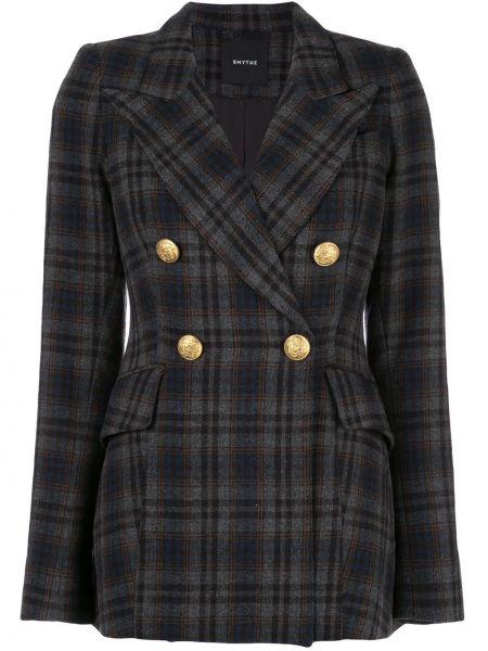 Приталенная серая куртка с манжетами на пуговицах Smythe