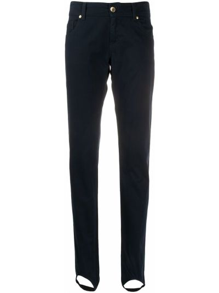 Хлопковые синие джинсы на молнии узкого кроя Moschino Pre-owned