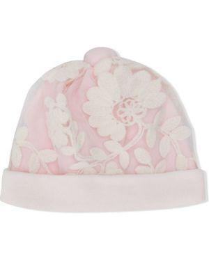 Ażurowa różowa czapka bawełniana Aletta