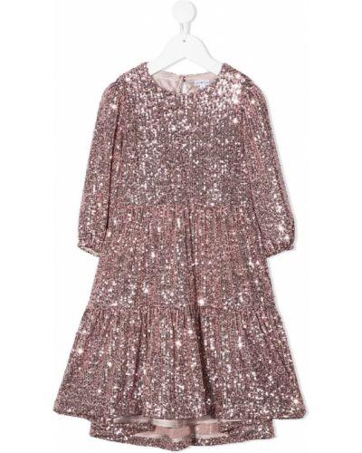 Розовое платье с рукавами с пайетками с вырезом круглое Piccola Ludo