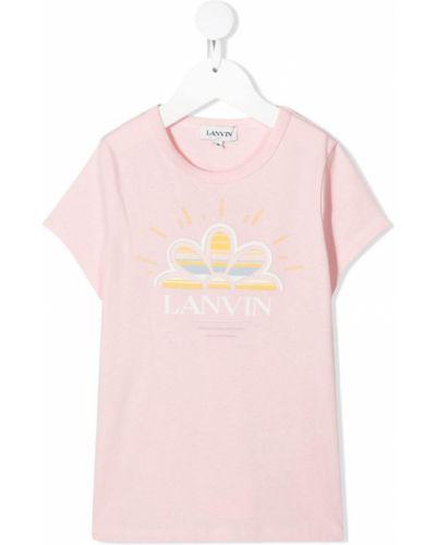 Хлопковая розовая футболка круглая с круглым вырезом Lanvin Enfant