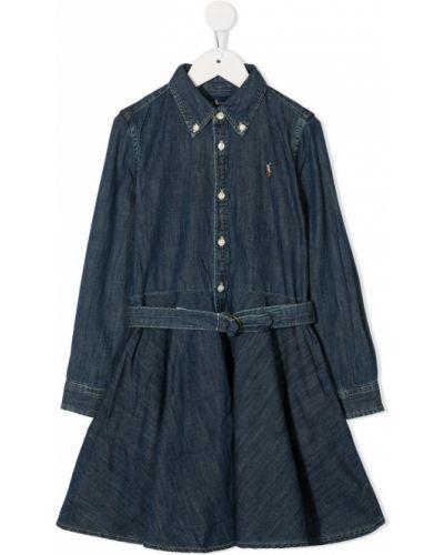 Синее платье макси с воротником на пуговицах Ralph Lauren Kids