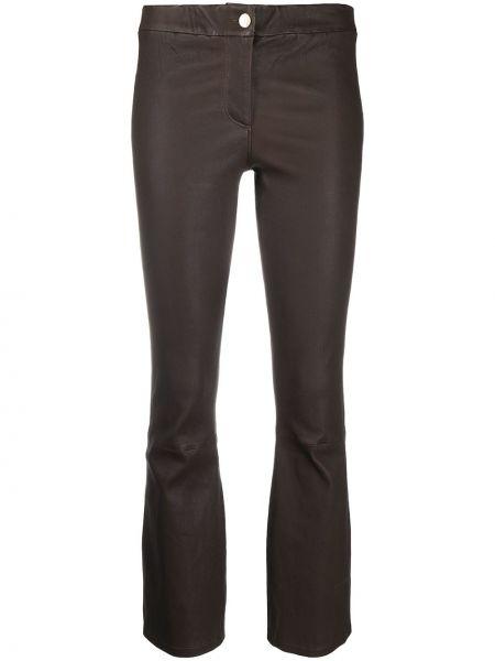 Кожаные коричневые расклешенные укороченные брюки на молнии Arma