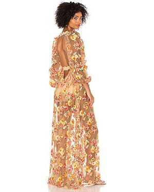 Нейлоновое персиковое платье макси с вышивкой на молнии For Love & Lemons