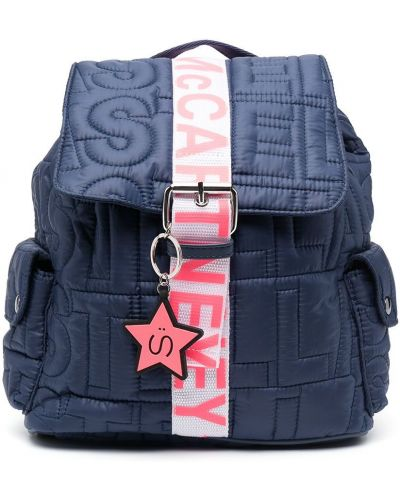 Стеганый брендовый синий рюкзак Stella Mccartney Kids
