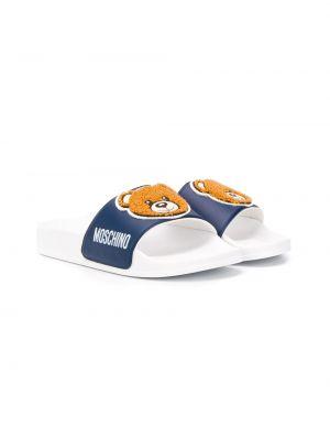 Открытые синие босоножки на плоской подошве с открытым носком Moschino Kids
