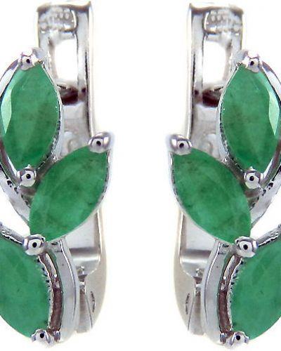 Серебряные серьги с изумрудом с камнями Evora