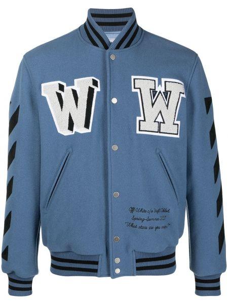 Niebieski bawełna bawełna długa kurtka z długimi rękawami Off-white