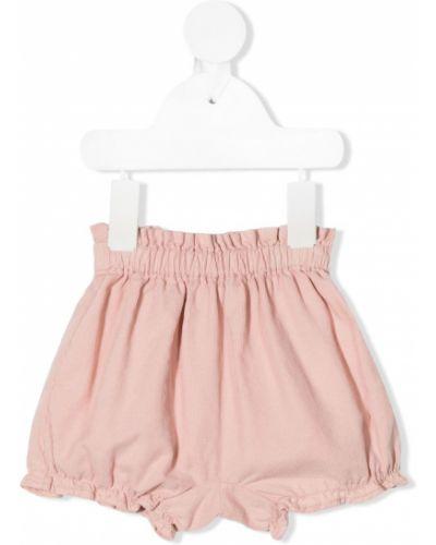 Хлопковые розовые шорты эластичные Knot