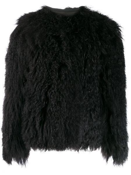 С рукавами черное кожаное длинное пальто Isaac Sellam Experience