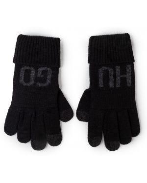 Czarne rękawiczki z akrylu Hugo